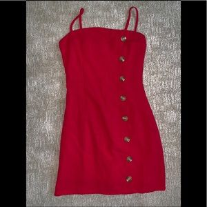 Nasty Gal size 2 red linen dress with buttons